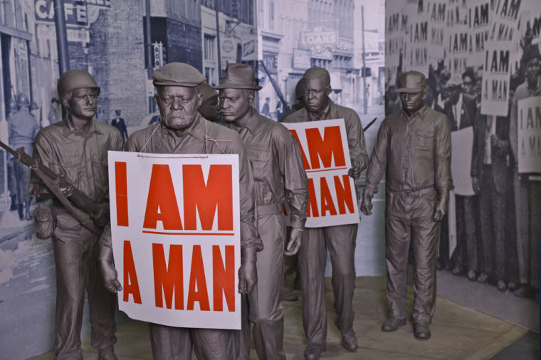 Cast images depicting the 1968 sanitation worker strike in Memphis, TN, on display at the National Civil Rights Museum at the Lorraine Hotel
