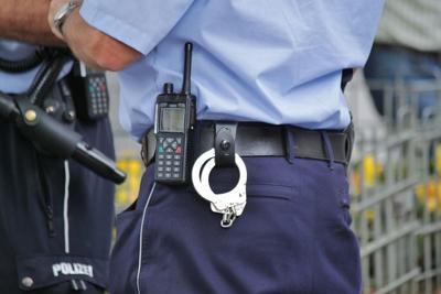 Handcuffs on cop