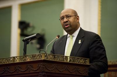 mayor michael nutter, shown here presenting his budget address to city council