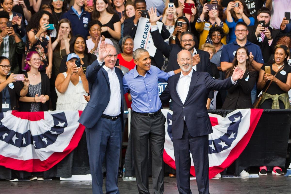 Bob Casey, Barack Obama and Tom Wolf at rally