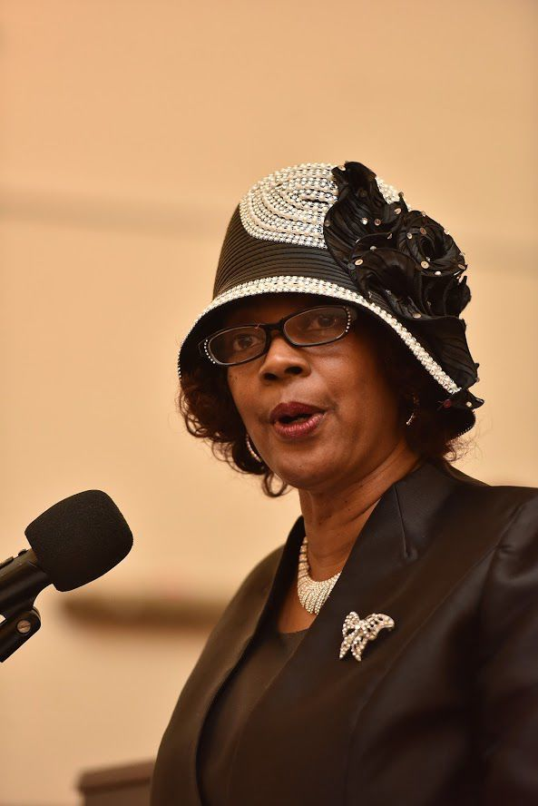 Sis. Paula Hall-Jordan, President, Evening Baptist Ministers Wives and Widows Auxiliary welcomes visitors to the 61st Installation of the President and Cabinet of the Evening Baptist Minister's Conference of Philadelphia & Vicinity at the Fellowship Greater Jehovah Baptist Church Sunday.