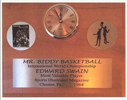 """Eddie Swain's """"Mr. Biddy Basketball"""" award"""