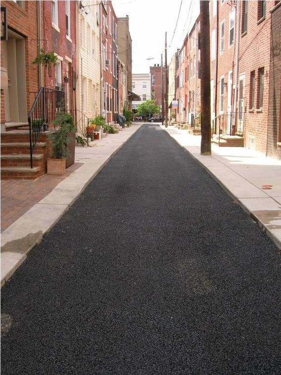 parcy street in north philadelphia, after porous street repaving. philadelphia water department grants will allow for further stormwater runoff management systems