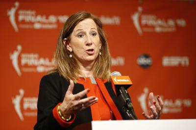 In this Sept. 29, 2019 file photo, WNBA Commissioner Cathy Engelbert speaks at a news conference before Game 1 of the WNBA Finals between the Connecticut Sun and the Washington Mystics in Washington, D.C. The WNBA draft will be a virtual event this year. The league announced Thursday that its draft will still be held April 17 as originally scheduled, but without players, fans or media in attendance due to the coronavirus pandemic. — AP Photo/Patrick Semansky, File