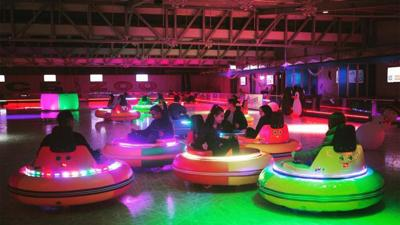 Bumper car rink in at the Ice Zoo