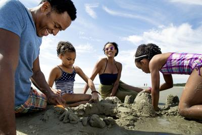 Black family at beach