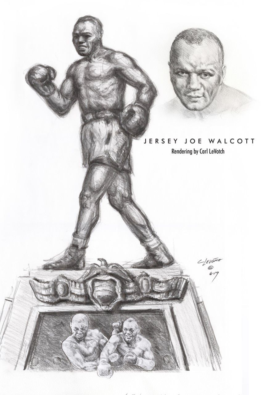 Rendering of Carl LeVotch's statue of Jersey Joe