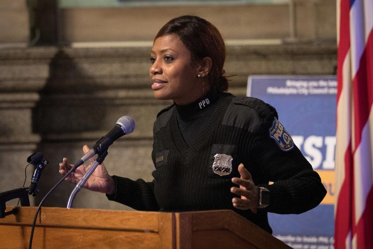 Officer Rosalyn Talley speaks during the Susan G. Komen Philadelphia breast health equity collaboration event held Tuesday at City Hall.  -PHOTO BY DAN Z. JOHNSON