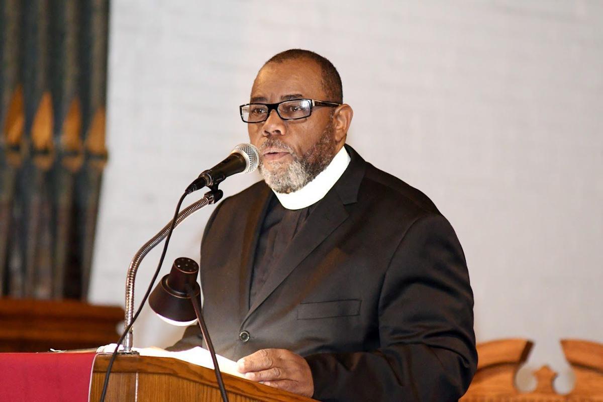 New Temple Baptist Church Pastor Bishop Edward A. Thomas speaks during White Service on Sunday. TRIBUNE PHOTOS BY MARISSA WEEKES MASON