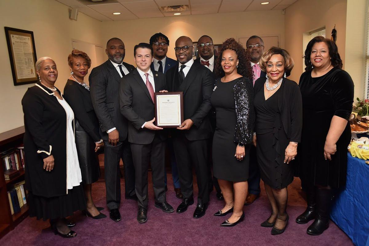 From left, Min. Margo Owens,Trustee Jennifer Plummer-Davis, the Rev. Donte Hickman, U.S. Rep. Brendan Boyle, State Rep. Malcolm Kenyatta, the Rev. Darron McKinney, first lady Billie Jo McKinney, Deacon William Raymond, the Rev. Justin Childs, Brenda Willingham, Andrea Swann pose for a photo celebrating Bright Hope Baptist Church's 110th anniversary.