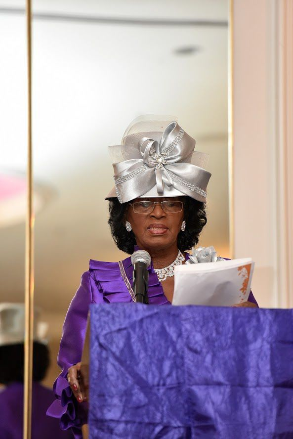 Joan Pickney, gives the welcome address for the Evening Baptist Ministers' Wives and Ministers' Widows Auxiliary installation service and luncheon.