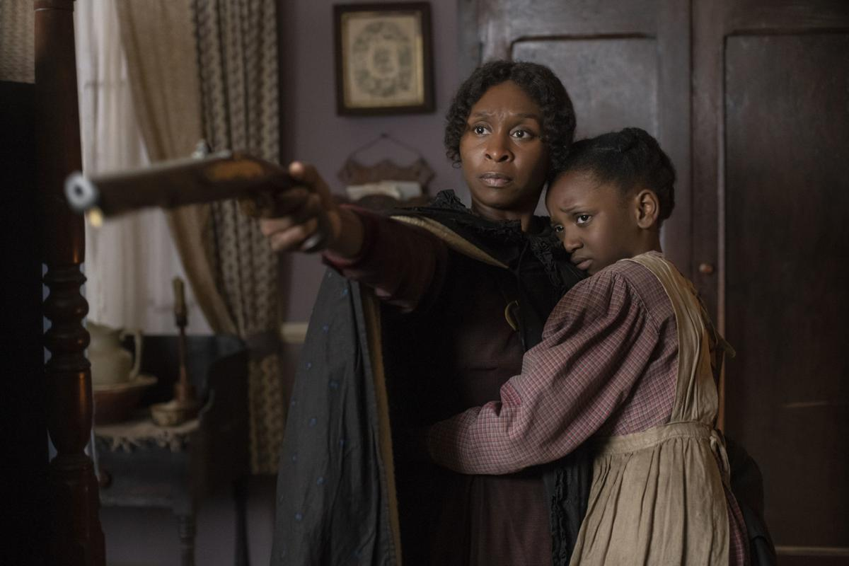 Film Review - Harriet - Cynthia Erivo as Harriet Tubman, left, and Aria Brooks as Anger