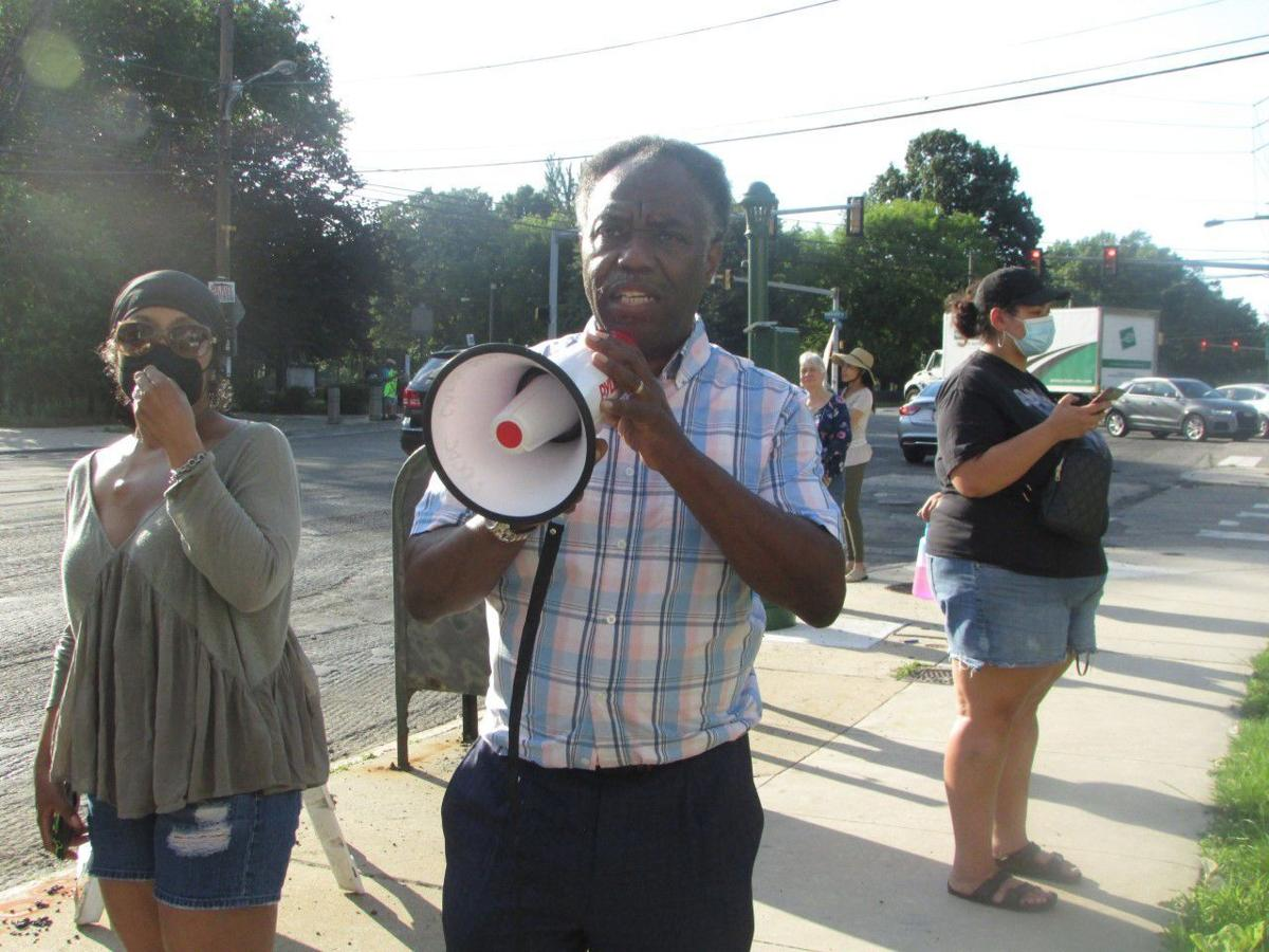 East Parkside protester with bullhorn
