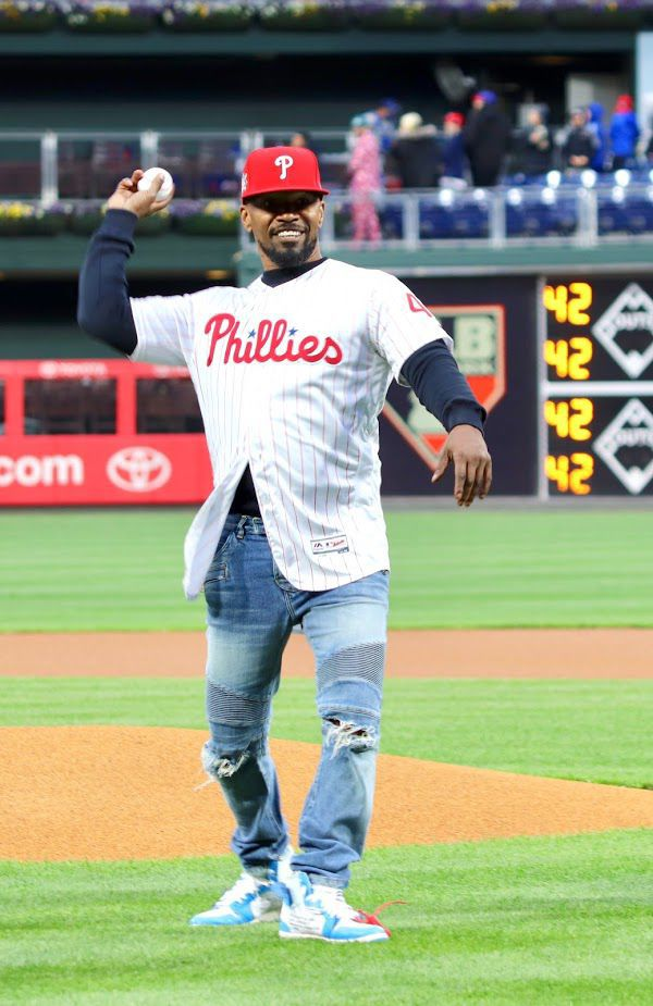 Academy Award winning actor and comedian Jamie Foxx throw out the first pitch at Citizens Bank Park on Monday as Major League Baseball commemorated Jackie Robinson Day.