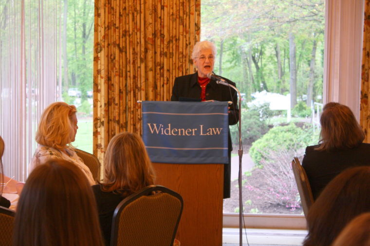 former district attorney lynne abraham, shown here giving remarks during a widener law school forum