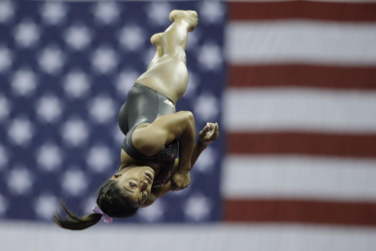 Simone Biles practices on vault for the senior women's competition at the 2019 U.S. Gymnastics Championships.— AP Photo/Charlie Riedel