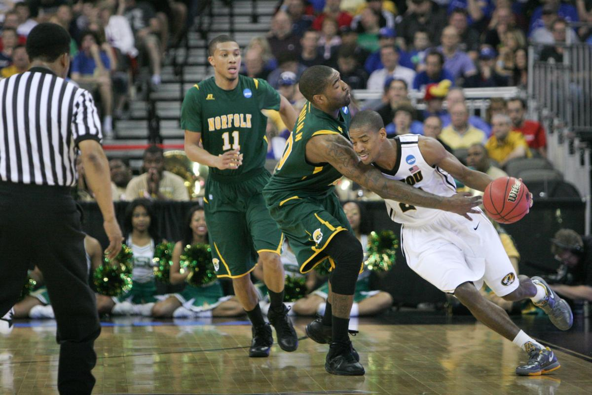 Pendarvis Williams, center, played tough defense on Missouri during Norfolk State University's upset victory in 2012.