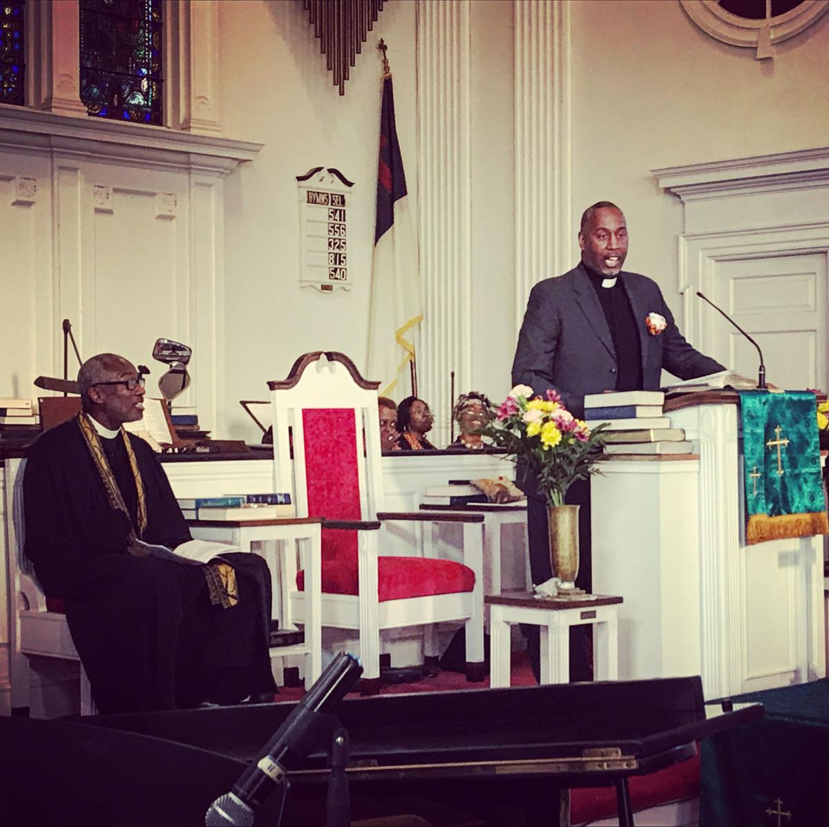 Oxford Presbyterian Church pastor the Rev. Kevin Porter listens to guest speaker the Rev. Jimmie Ray Hawkins. Hawkins works in Washington, D.C. as director of the Presbyterian Church (USA) Office of Public Witness. — SUBMITTED PHOTOS