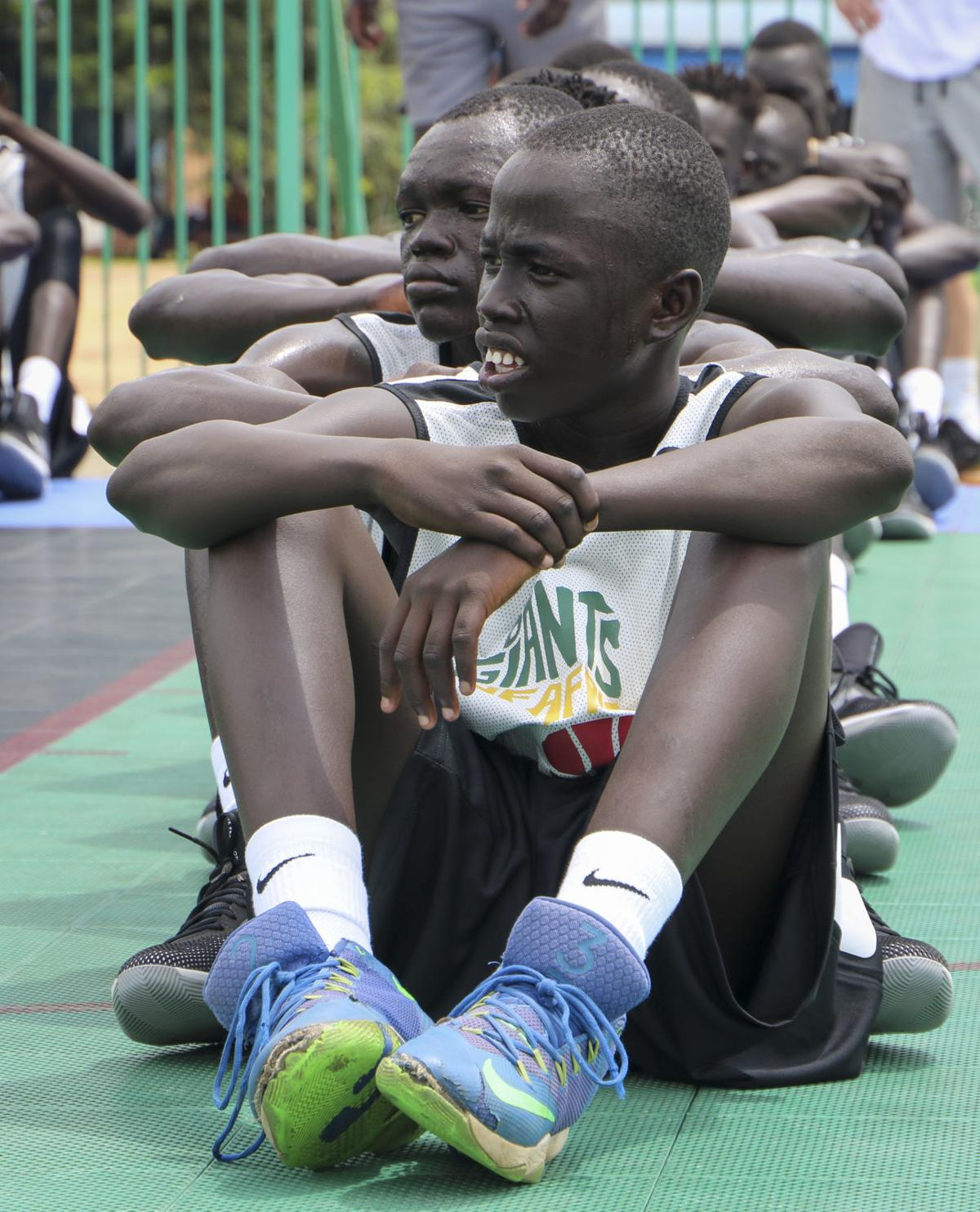 Players sit in rows during a break at a three-day basketball training camp run by Giants of Africa in Juba, South Sudan.— AP Photo/Sam Mednick
