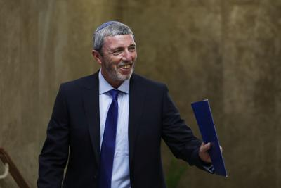Israel's Education Minister Rafi Peretz arrives to attend the weekly cabinet meeting in Jerusalem on Sunday. — Ronen Zvulun/Pool Photo via AP
