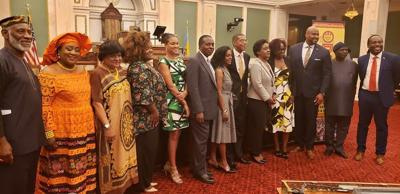 The Caribbean Business Forum and reception was held on June 8 at City Hall. From left, Stanley Straughter, Chairman Emeritus, Mayor's Commission on African and Caribbean Immigrant Affairs; Youma Ba, Chairman, Echoes of Africa; Councilwoman Jannie Blackwell; Dionne Poyser, Honorary Consul's Advisory Team; Dr. Lisa Soares, Honorary Consul's Advisory Team; Donahue Bailey, Honorary Consul's Advisory Team; Margaret Greenaway-Chaplin; Christopher Chaplin, Jamaica's Honorary Consul in Philadelphia Acting Consul General; Lisa Bryan-Smart, Acting Consulate of Jamaica in New York; Nadine Midgely, Honorary Consul Advisory Team; Donavan West, Caribbean Business Forum; moderator Christopher Benjamin, Vice Consul, Jampro.— SUBMITTED PHOTO