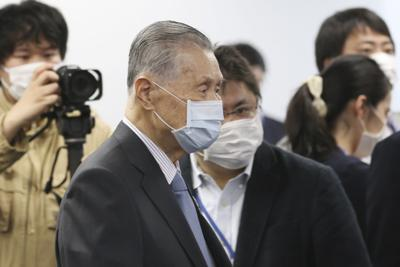 """Tokyo 2020 Organizing Committee President Yoshiro Mori arrives for the first meeting of the """"Tokyo 2020 New Launch Task Force"""" in Tokyo, Thursday two days after the unprecedented postponement was announced due to the spreading coronavirus. — AP Photo/Koji Sasahara"""