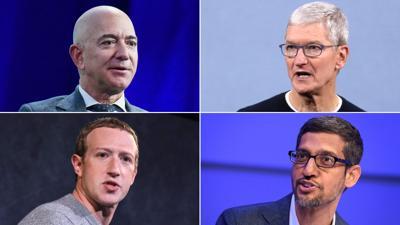 Jeff Bezos, Tim Cook, Mark Zuckerberg and Sundar Pichai