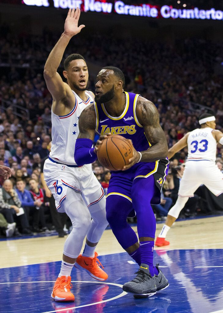 best service c74a3 f01ff Embiid leads Sixers past Lebron-led Lakers, 143-120 ...