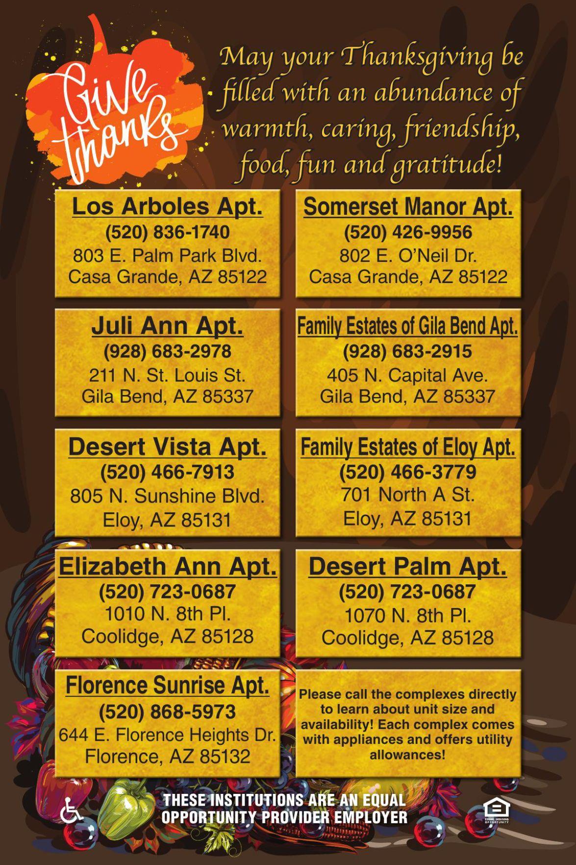 Landmark Aptartments - May your Thanksgiving be