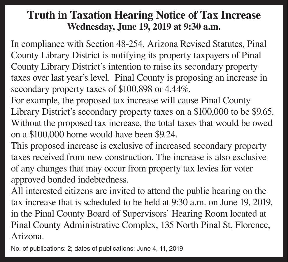 Truth in Taxation Hearing Notice of Tax Increase