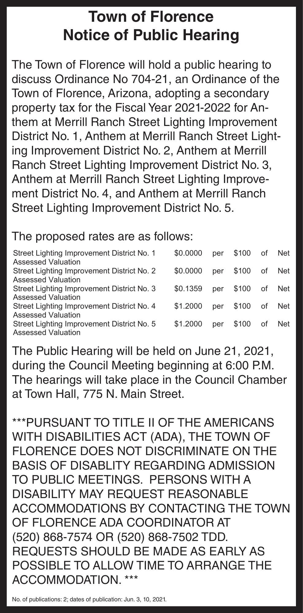 Town of Florence Notice of Public Hearing