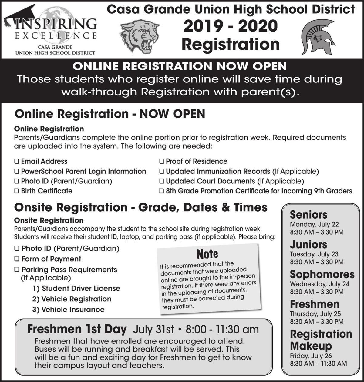 2019 - 2020 Registration - Casa Grande Union High School District
