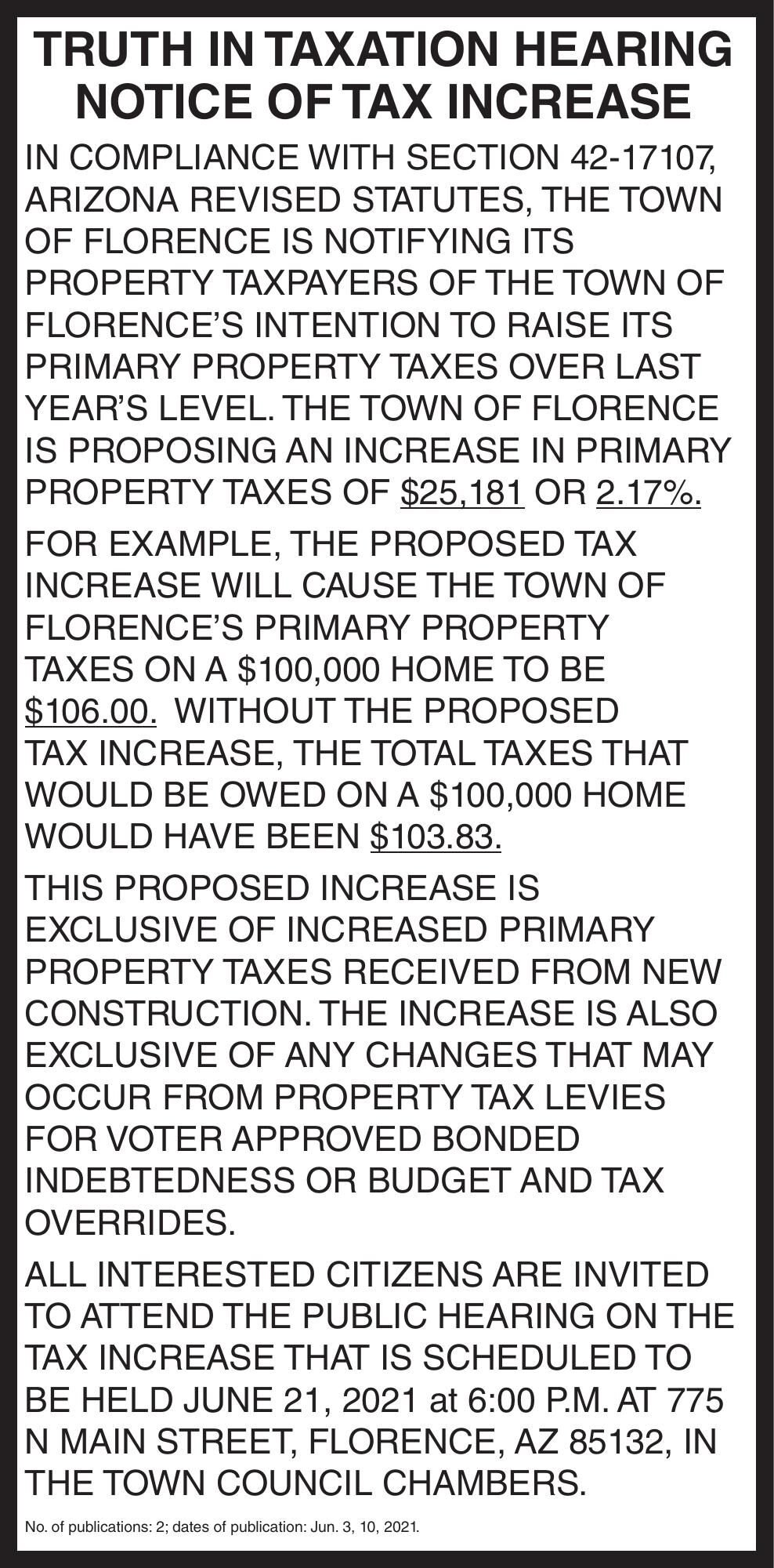 Town of Florence Truth in Taxation Hearing