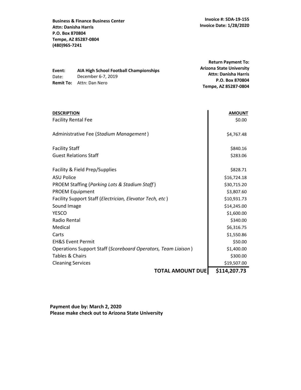 Invoice sent to AIA for rental of Sun Devil Stadium