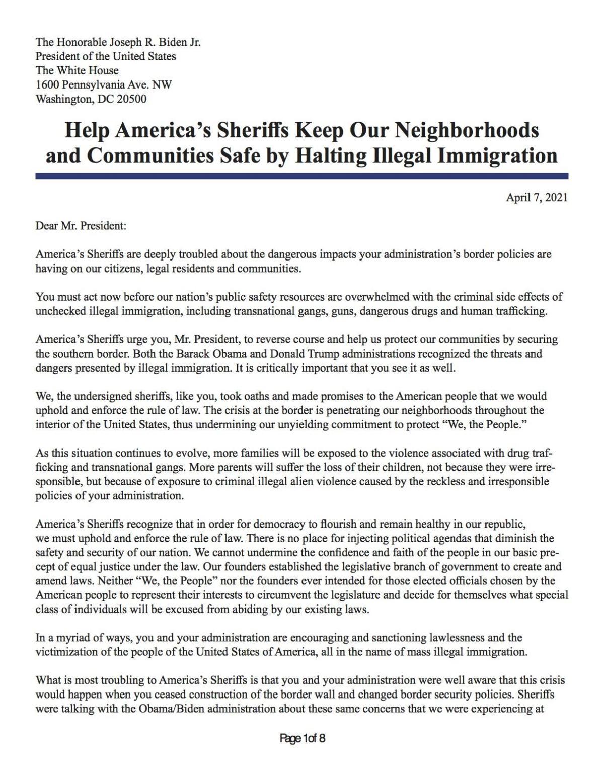 Sheriff's letter to Biden