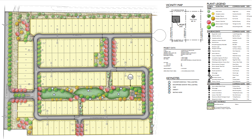 Layout for Anderson Farms subdivision