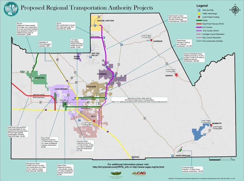 Proposed Pinal Road Tax Could Go To Sr 347 Aj To Coolidge Parkway