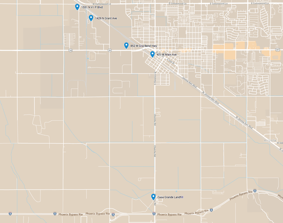 Map of recycling centers