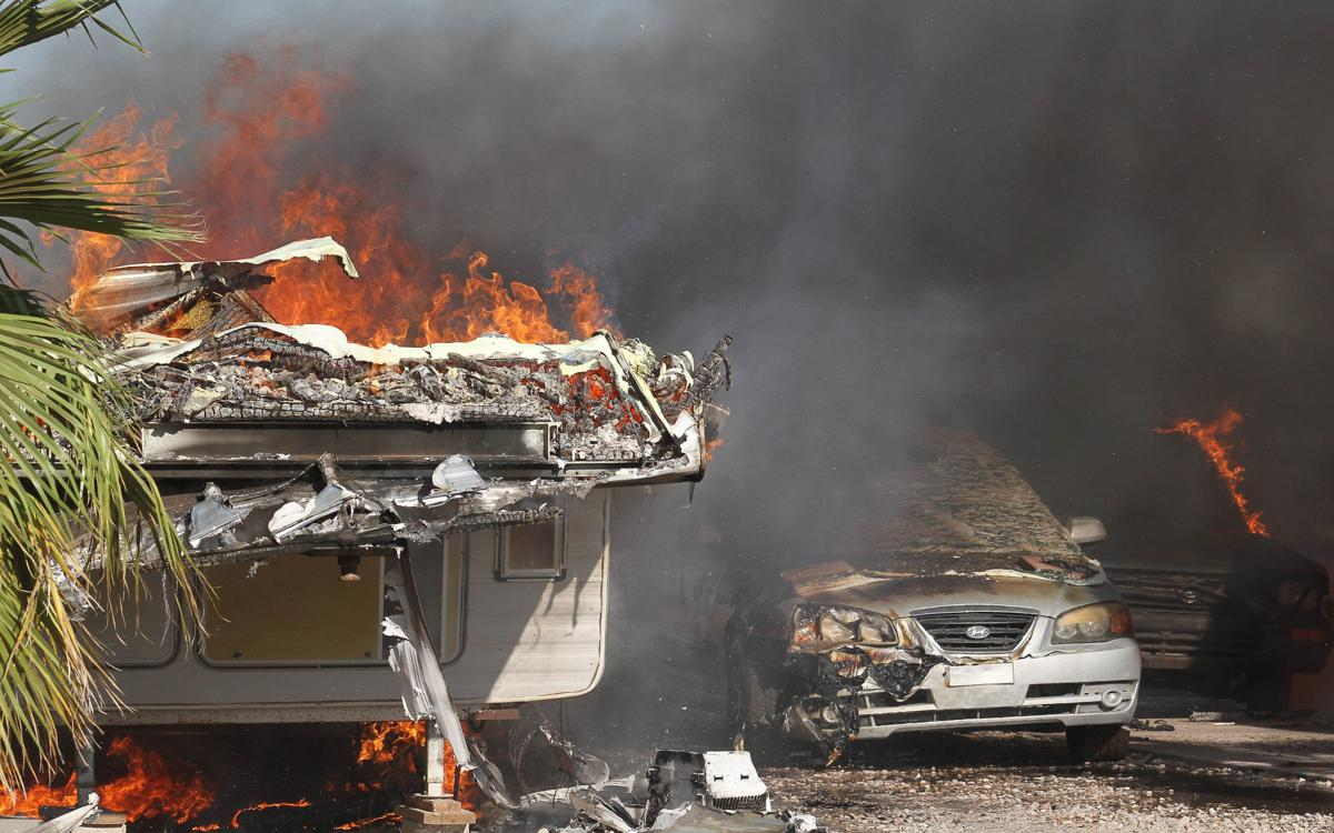 Fire destroys two RV trailers