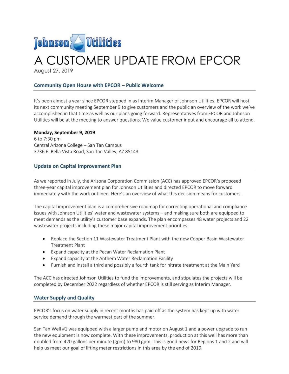 Update from EPCOR