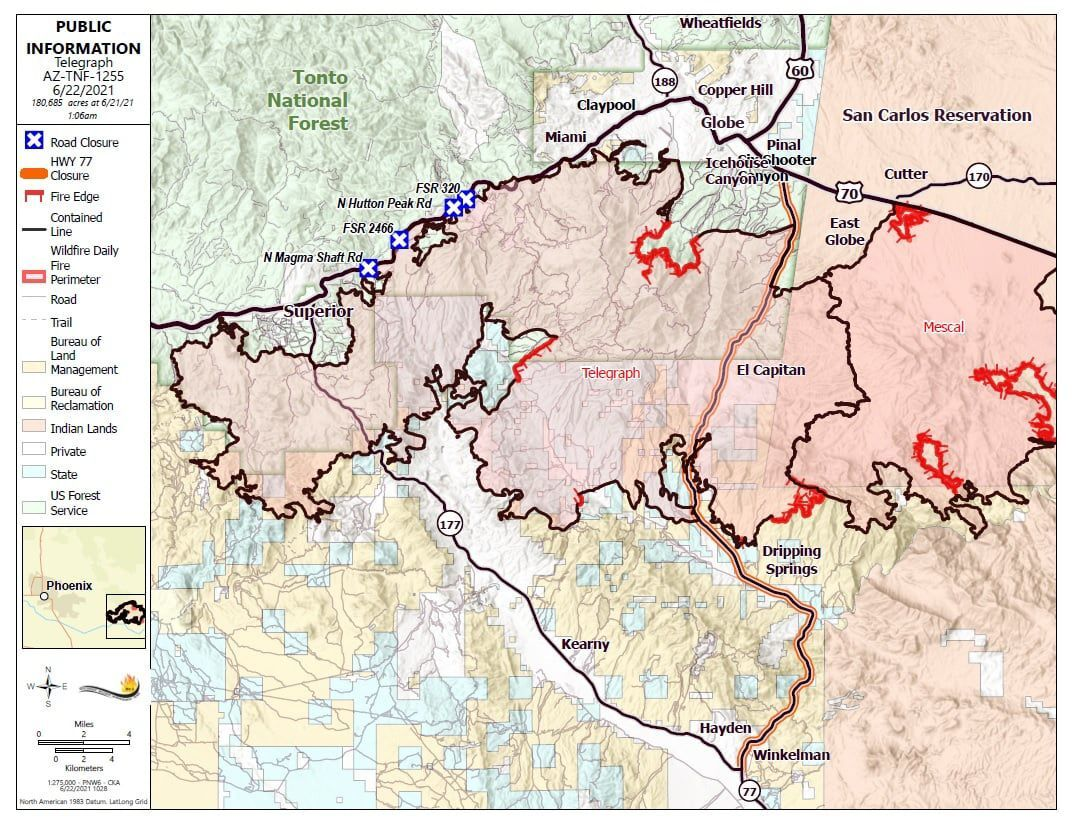 Telegraph fire containment map