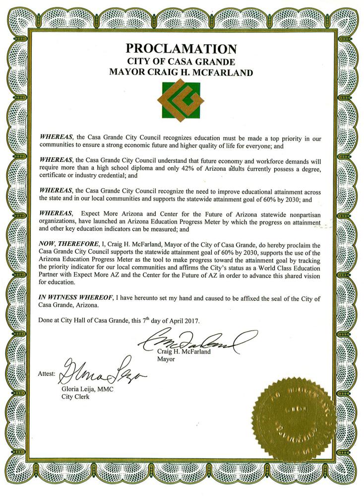 Casa Grande progress meter certificate