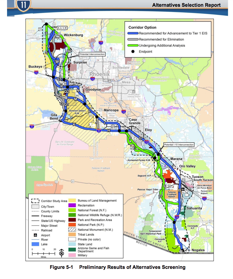 ADOT releases report on possible routes for I 11