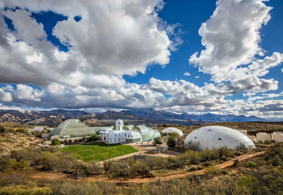 Biosphere 2 and surrounding desert landscape