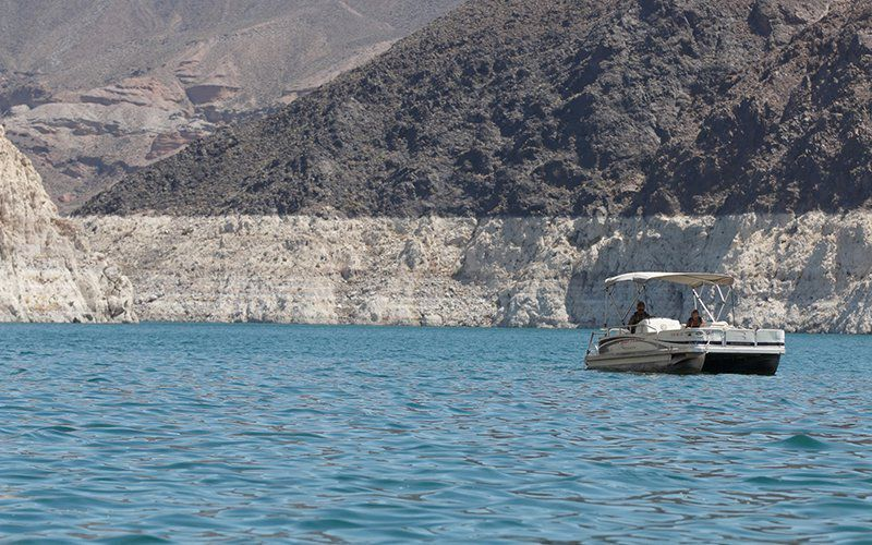 Lowered water levels in Lake Mead