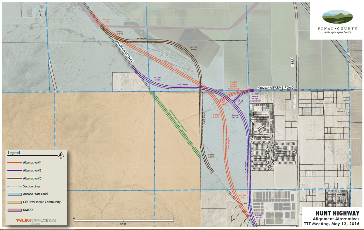Arizona Map With County Lines.Pinal County Plans To Move Hunt Highway Around Gric Area News