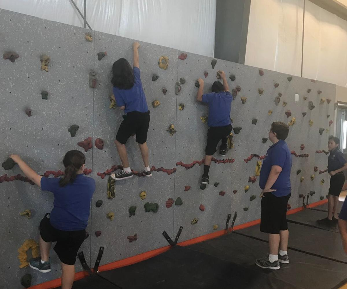 New rock wall in gym