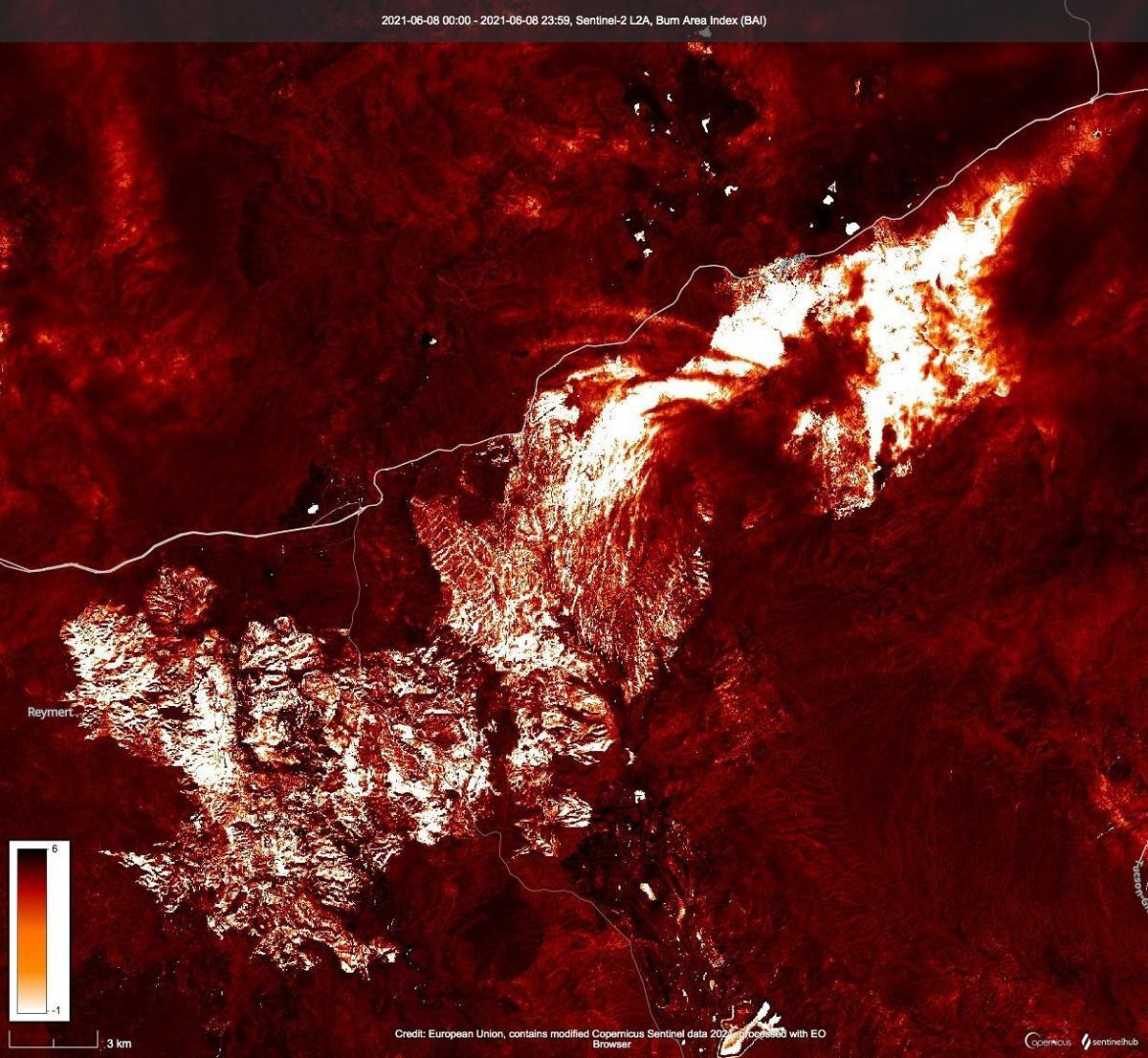 False color satellite image of Telegraph fire