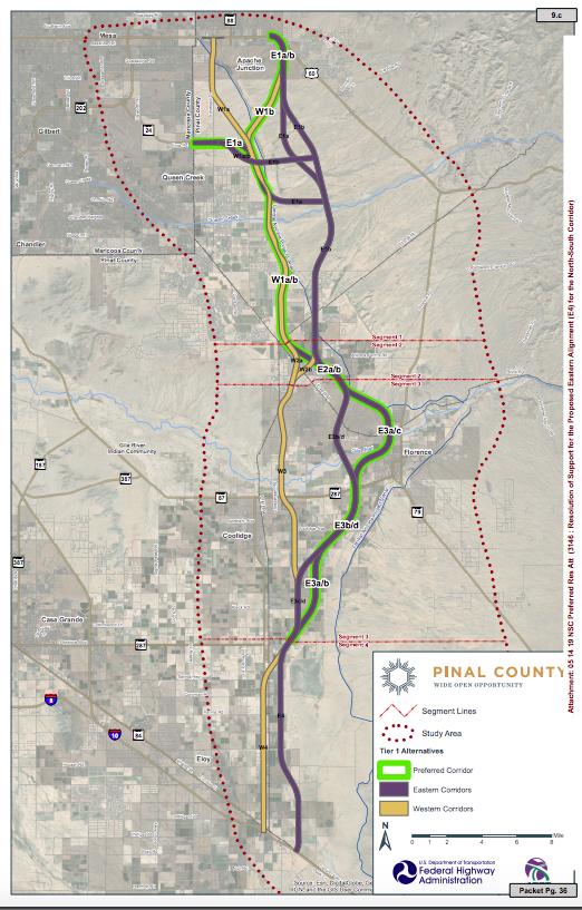 North-South Corridor alignments