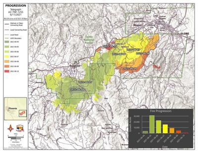 Telegraph fire progression map for 6/11/21